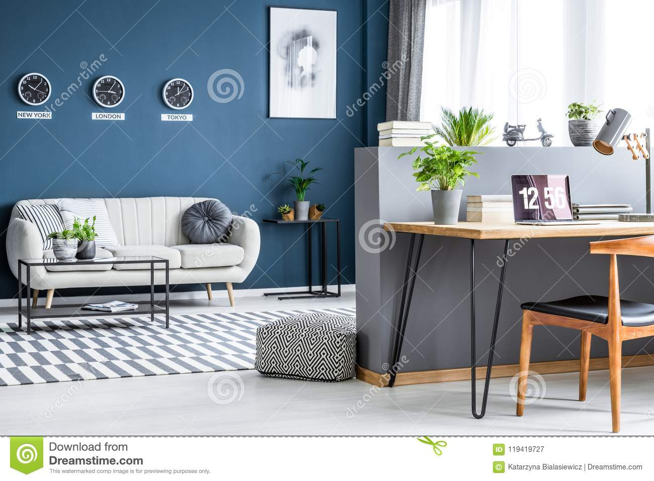 Sofa In Home Office Dark Blue Living Room Interior With Three Clocks Simple