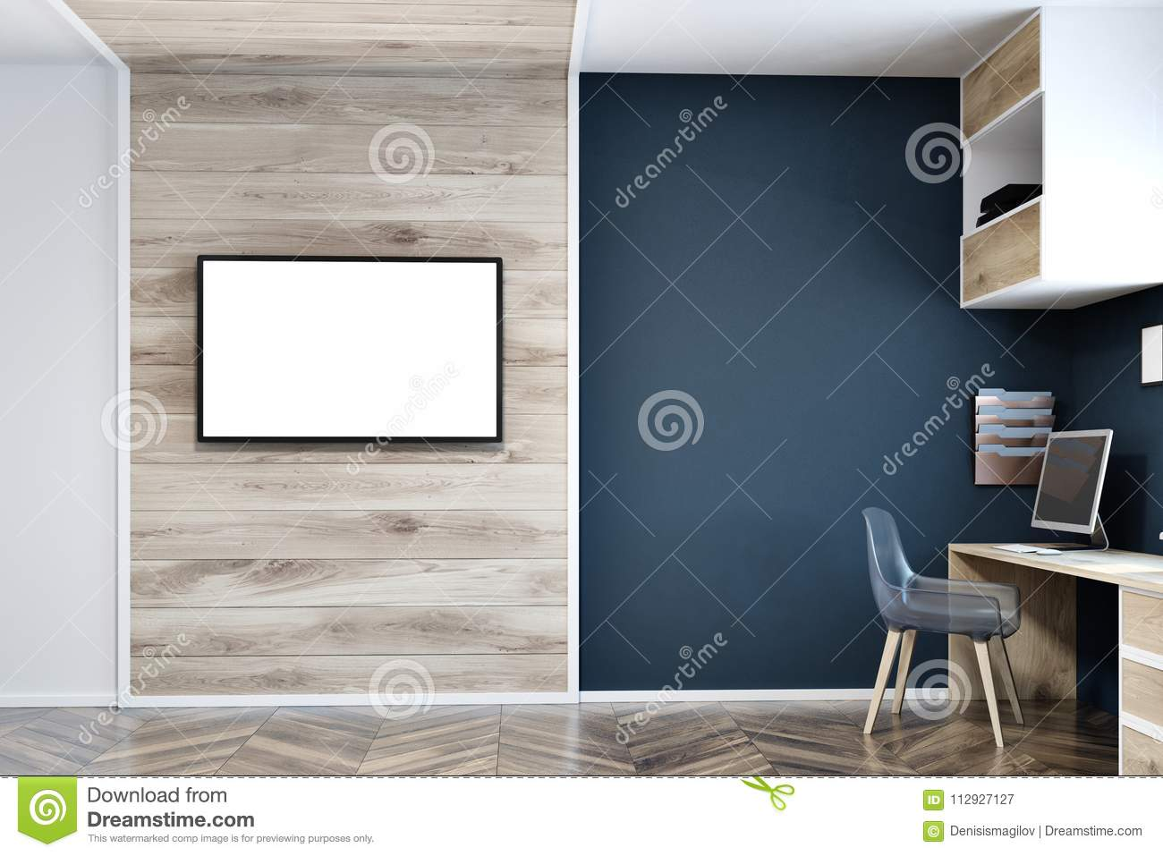Wood Wall Behind Tv Dark Blue Wall Home Office Tv Screen Mock Up Stock Illustration