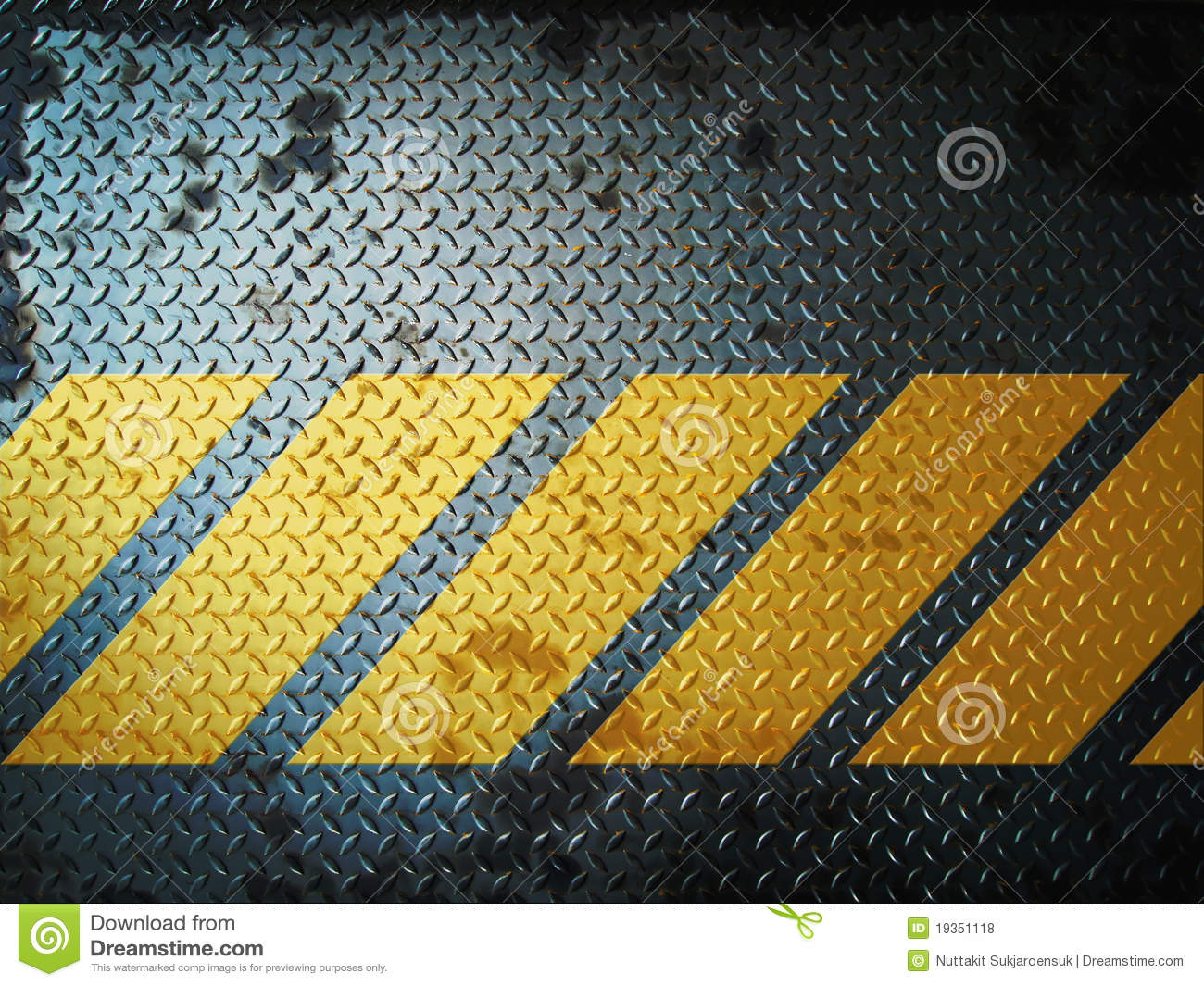 Black Diamond Plate Wallpaper Dark Gray Grunge Steel Floor Plate Yellow Line Stock