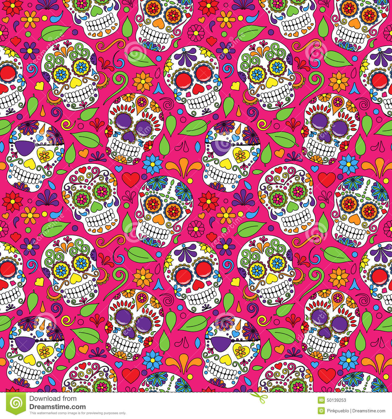 Cute Dia De Los Muertos Wallpaper Day Of The Dead Sugar Skull Seamless Vector Background
