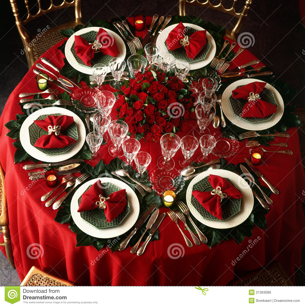Christmas Tables Decorated Decorated Christmas Dining Table Royalty Free Stock Images