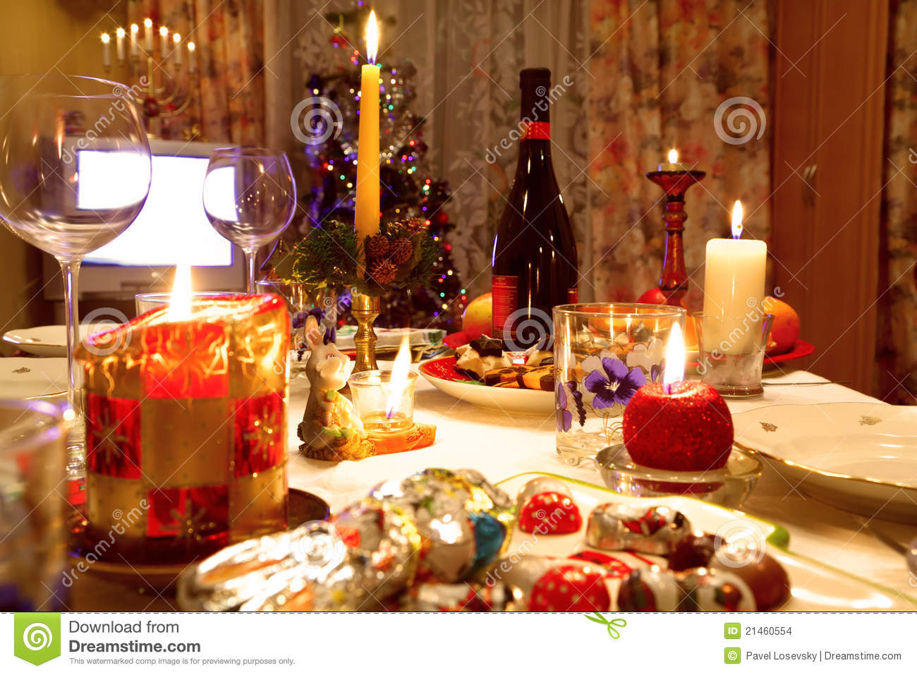 Christmas Tables Decorated Decorated Christmas Dining Table Stock Photo Image Of