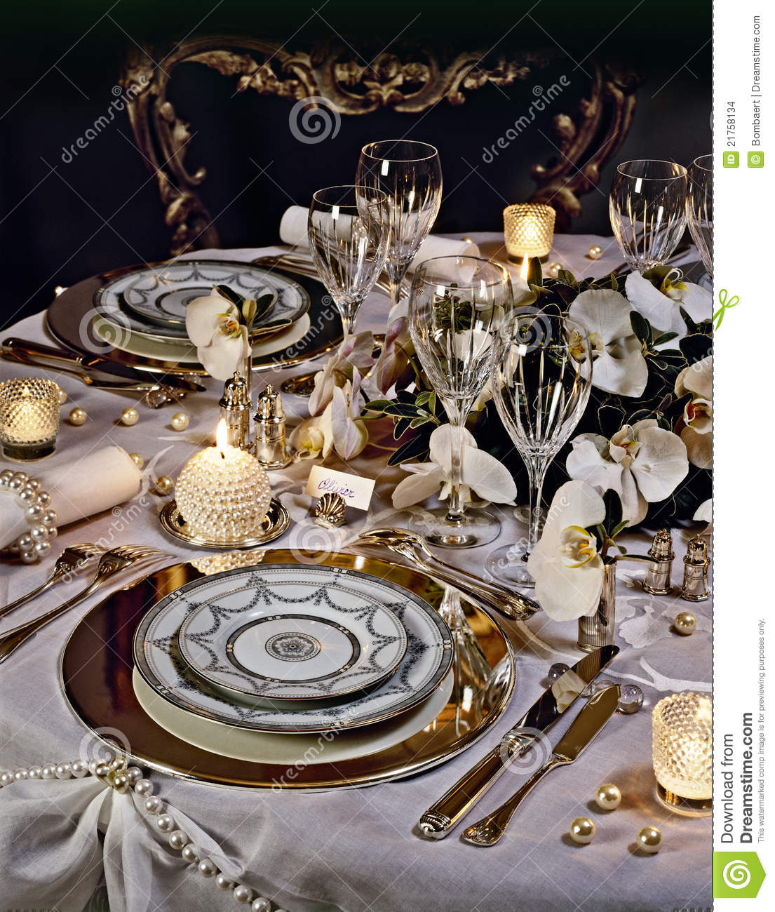 Christmas Tables Decorated A Decorated Christmas Dining Table Stock Photo Image Of