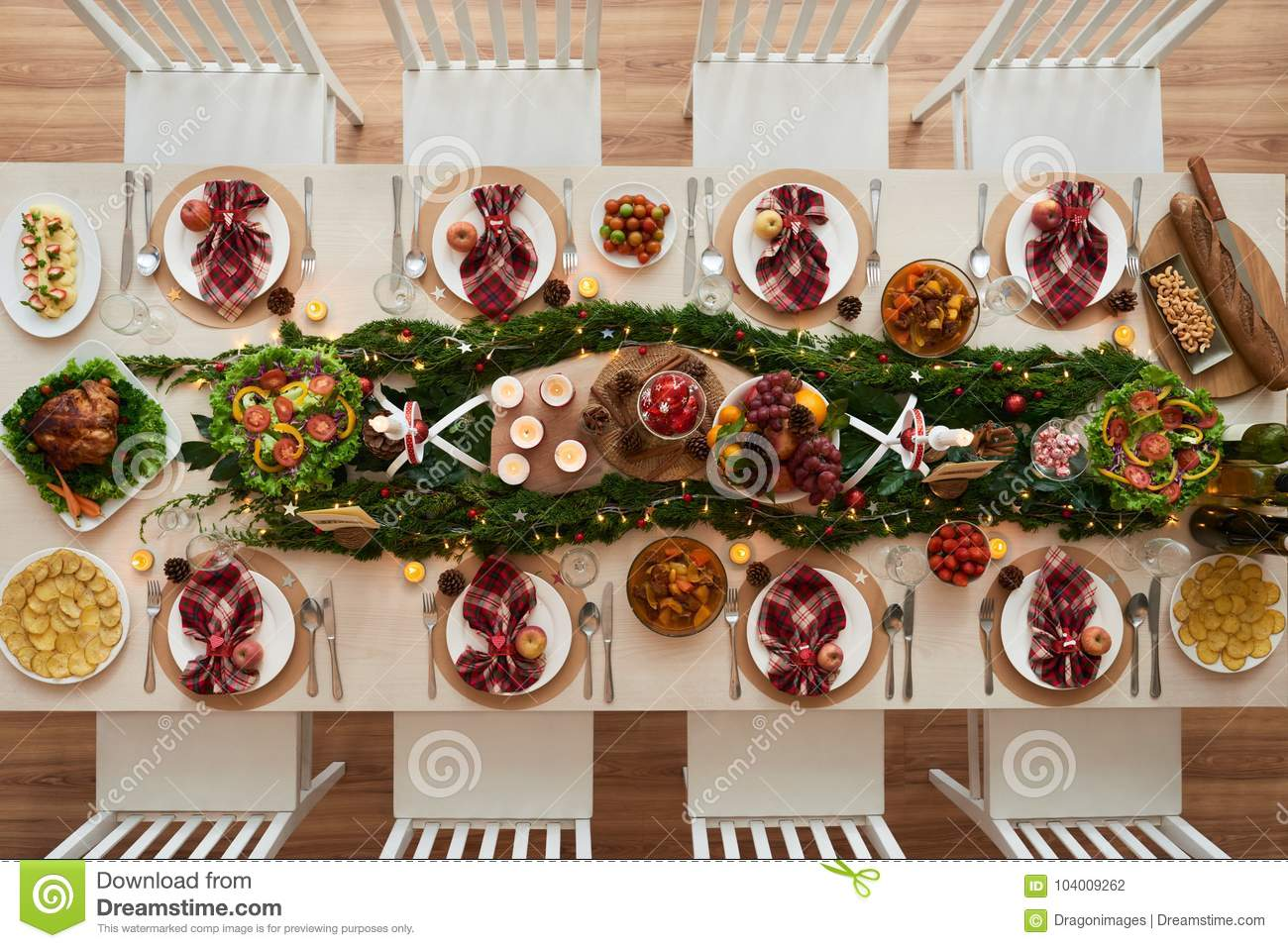 Christmas Tables Decorated Decorated Dinner Table Stock Photo Image Of Delicious