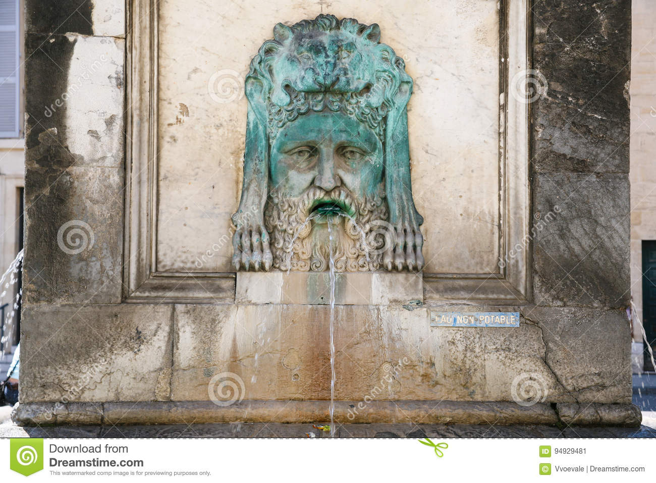 Provence Decoration Decoration Of Ancient Fountain In Arles Obelisk Stock Image