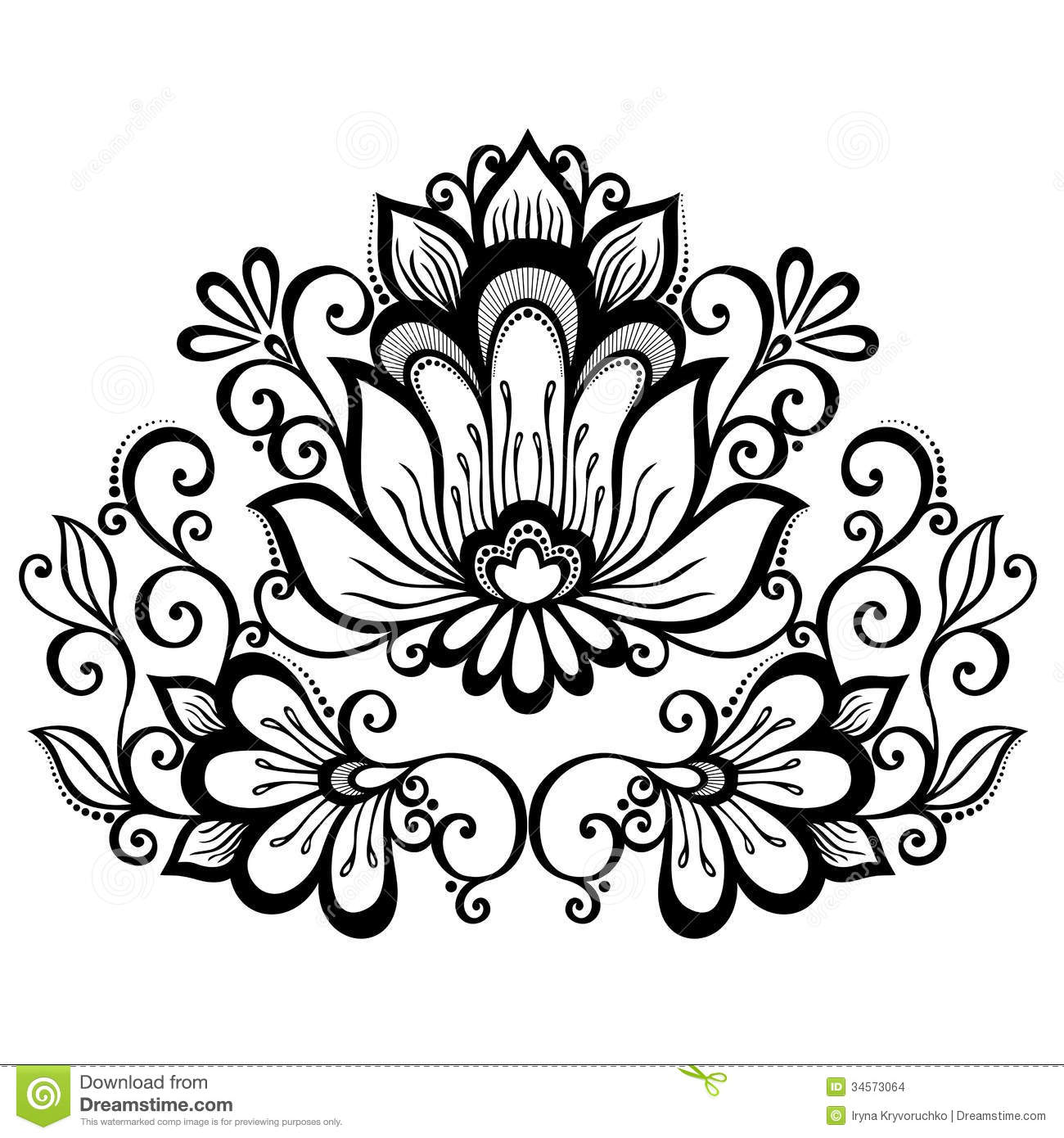 Decorative flower with leaves stock vector image 34573064