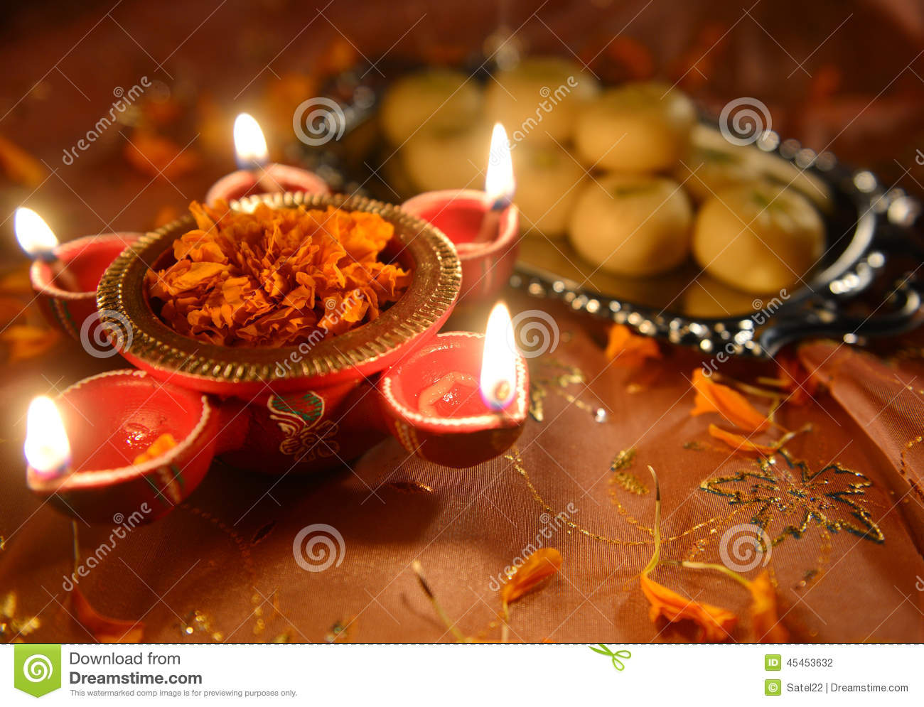 Earthen Lamp Diwali Deewali Lamp Stock Photo Image 45453632
