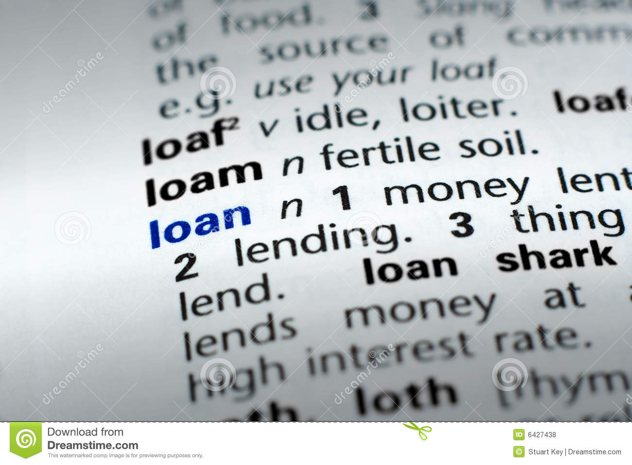 Definition Of Loan Stock Photo Image Of Banking Lending