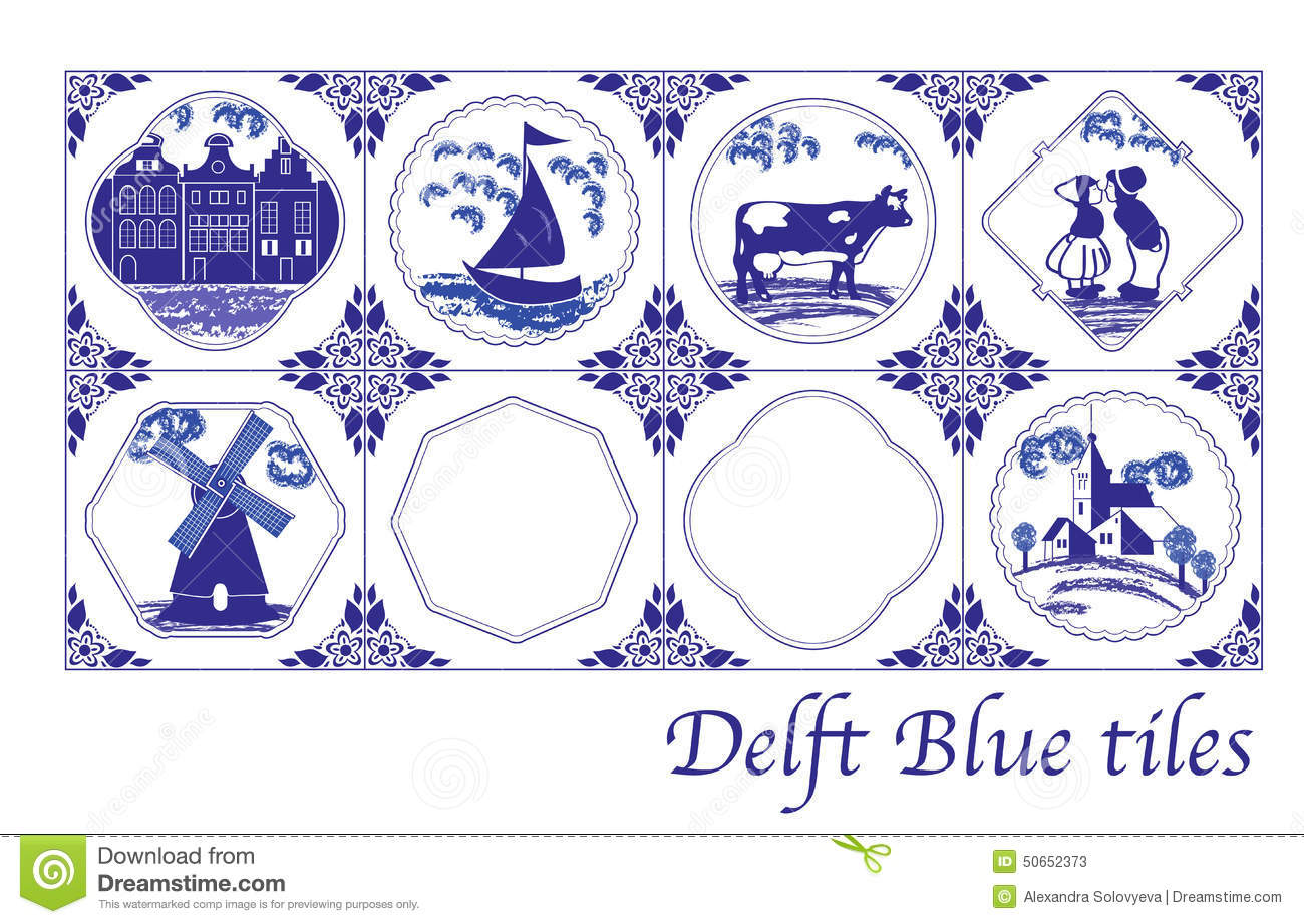 Oud Hollandse Keuken Tegels Delft Blue Dutch Tiles With Folk Pictures Stock Vector