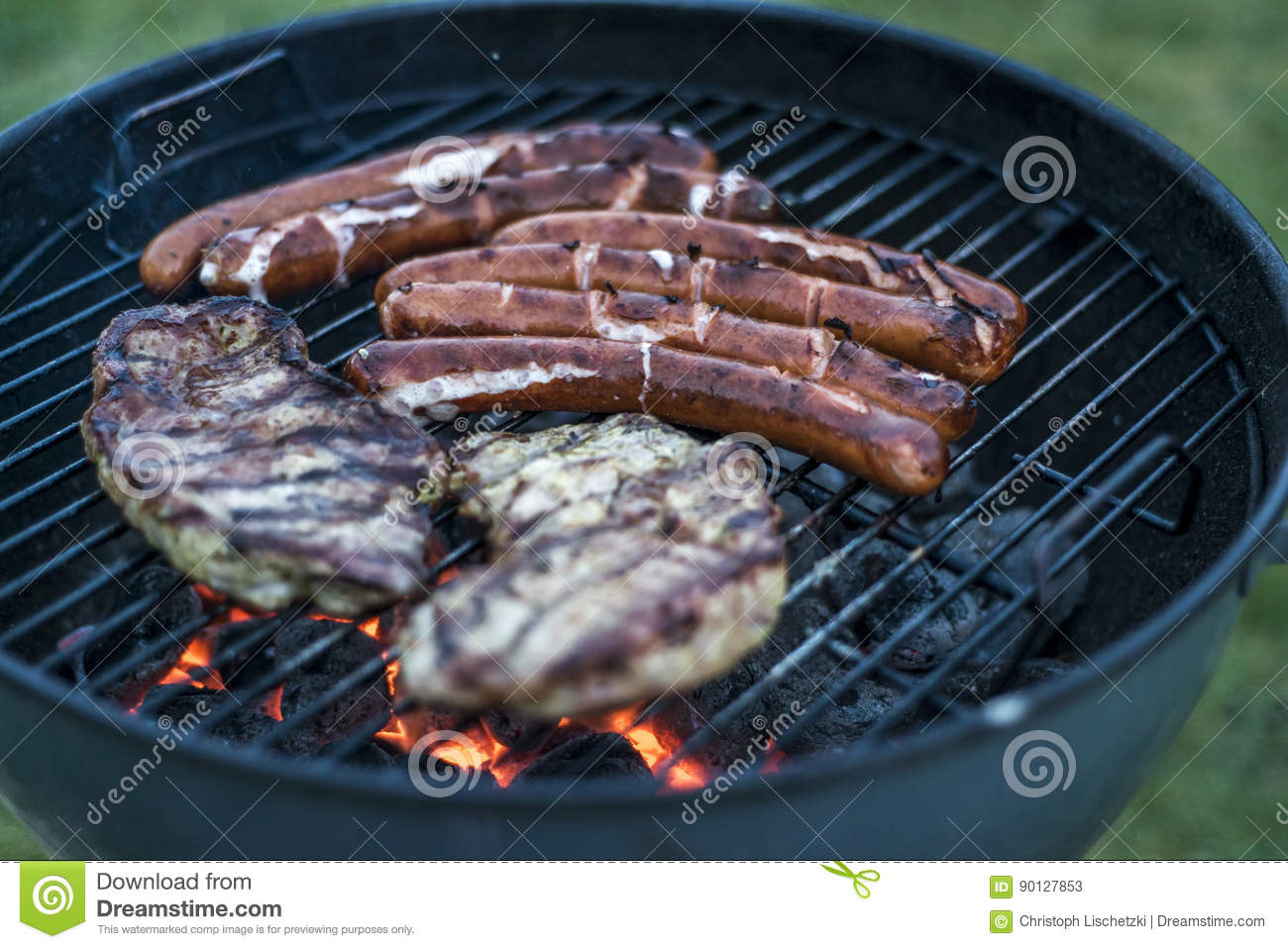 Coal Bbq Delicious Grilled Meat Over Coal On Barbecue Grill Bbq Stock Image