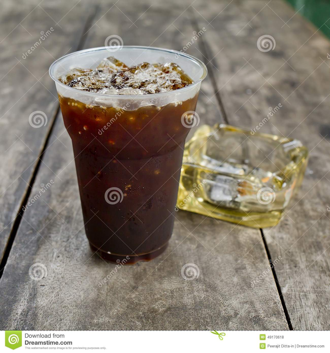 Americano Coffee To Go Delicious Ice Coffee Americano With Cigarette On The Old