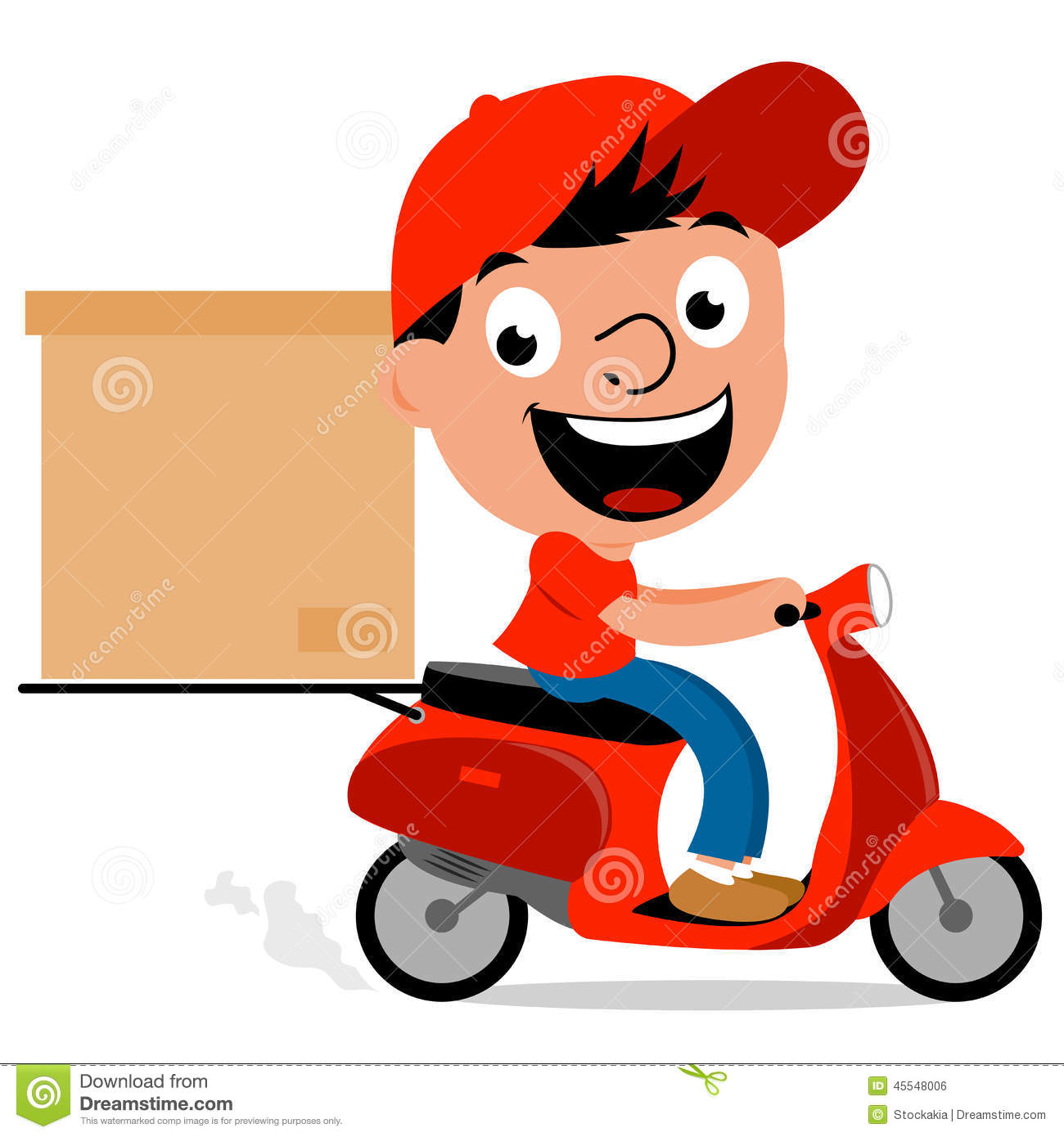 Gifi Livraison Delivery Man In Scooter Stock Vector Illustration Of