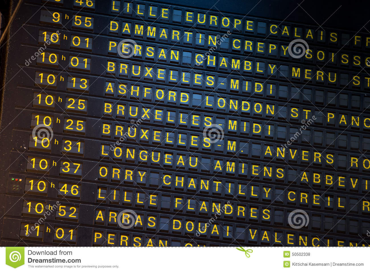 Ashford Paris Departure Board On The Train Station In Paris France Stock Photo