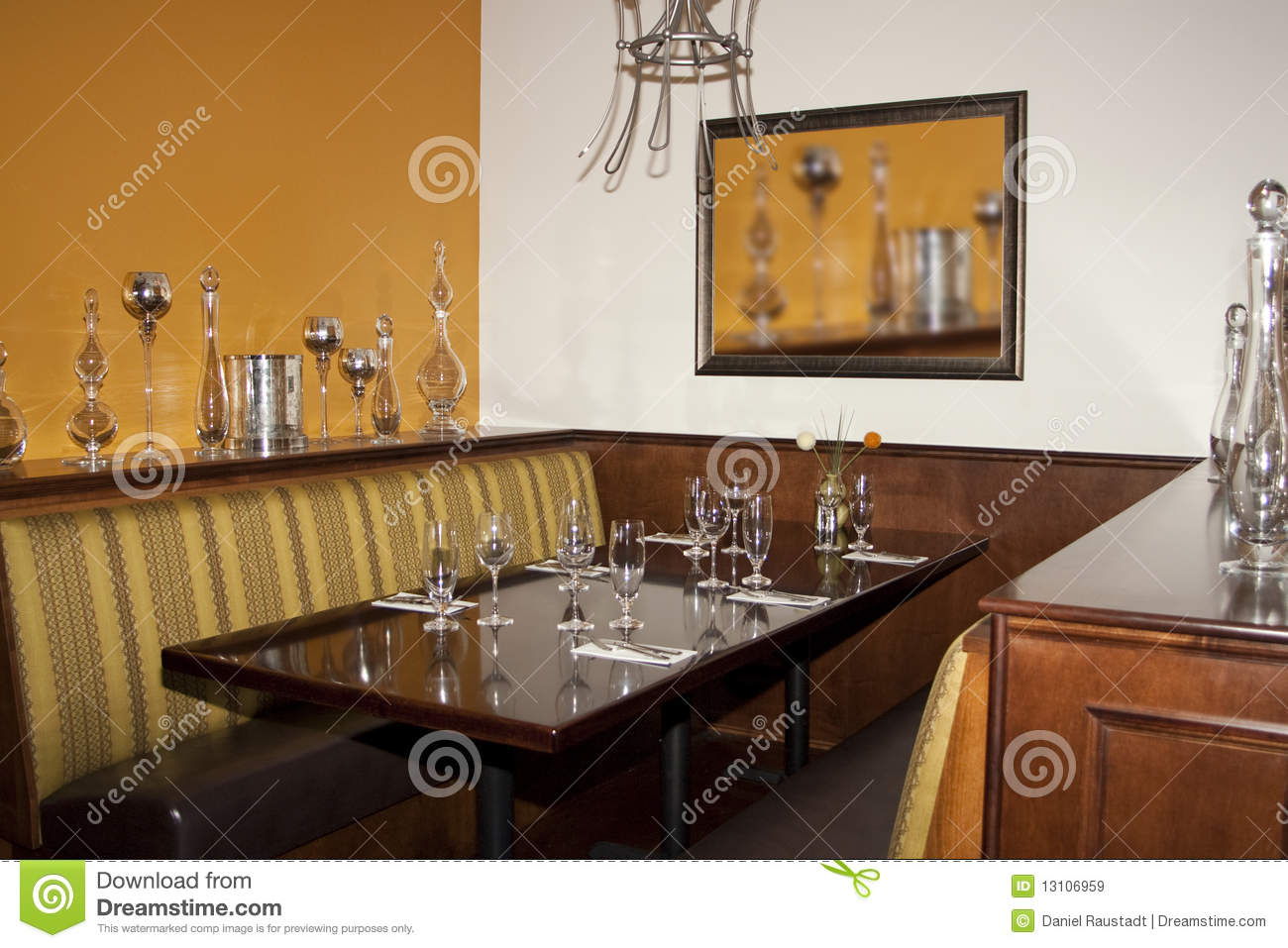 Desert Golf Course Restaurant Dining Booth Table Stock
