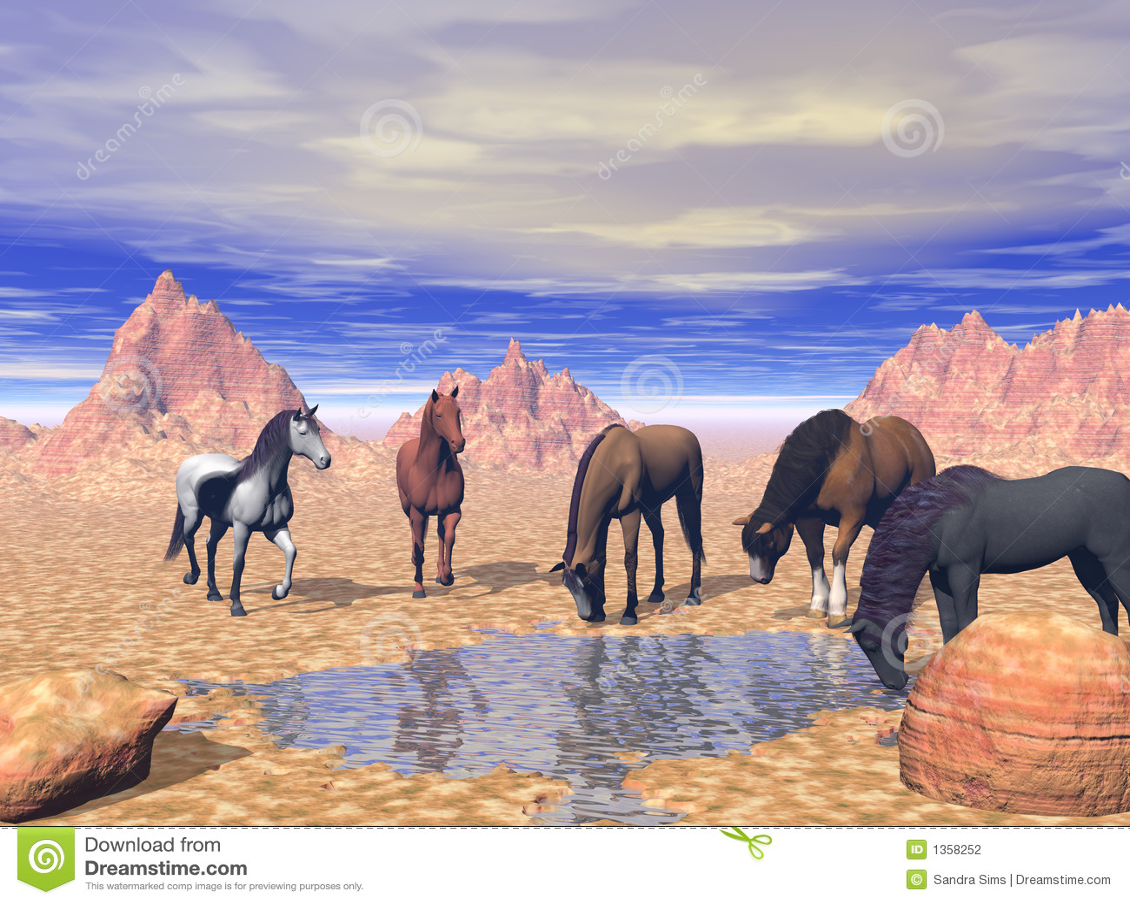 7 Horse Wallpaper 3d Desert Watering Hole Stock Illustration Image Of