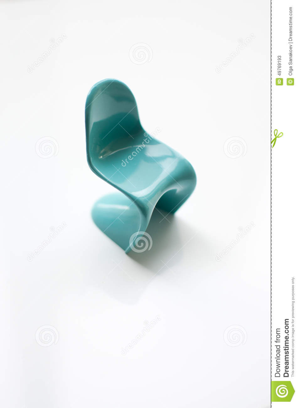 Designer Blue Panton Chair On White Stock Image Image Of Pantone Furniture 49769193