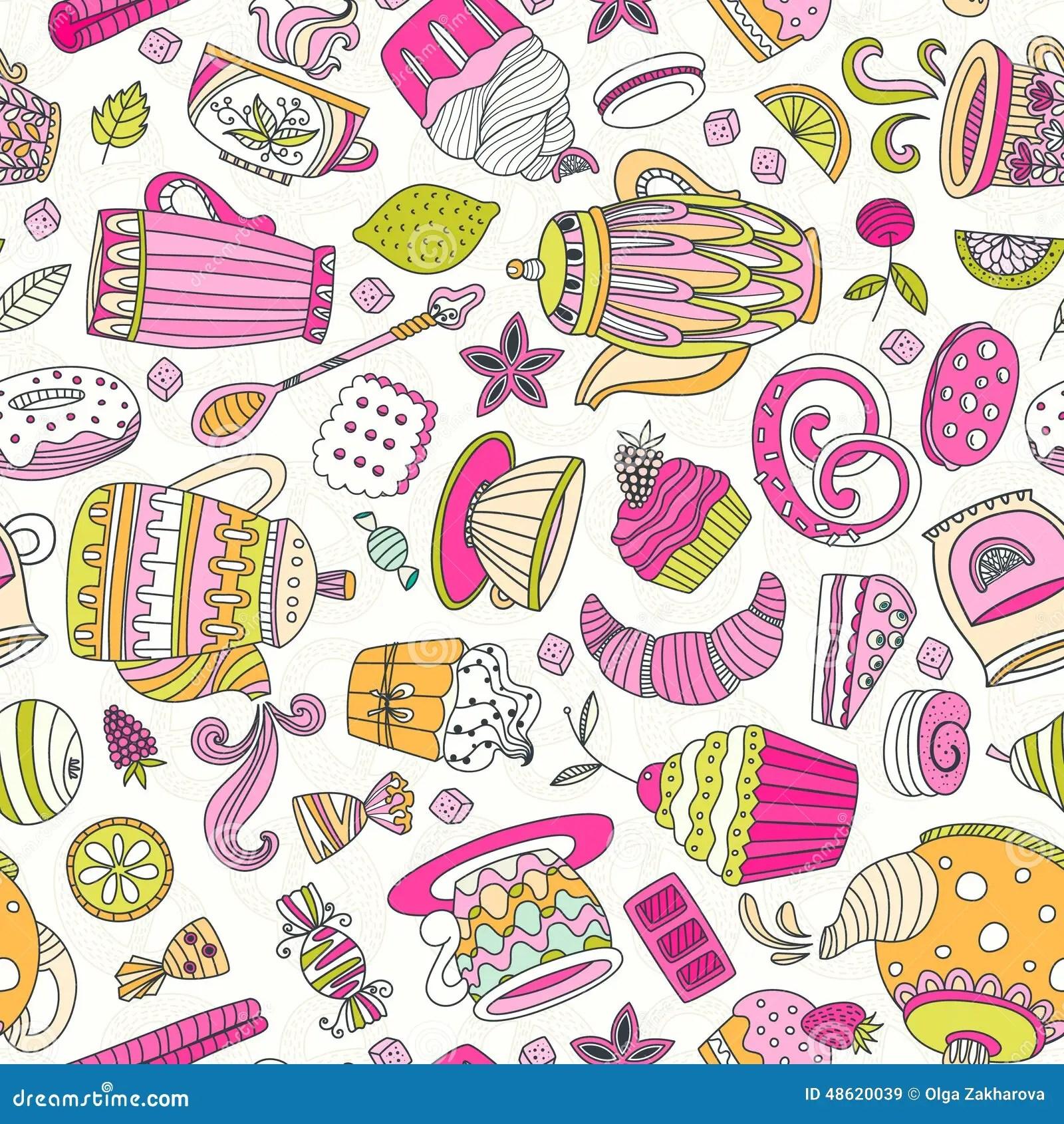 Starbucks Wallpaper Cute Dessert Seamless Pattern Stock Vector Image 48620039