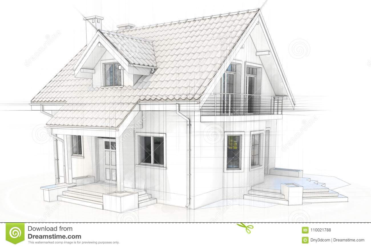 Maison Dessin 3d Dessin 3d Technique D Une Maison Moderne Illustration Stock