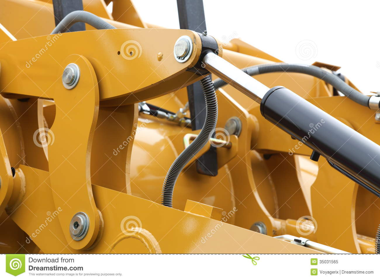 Machine Hydraulic Detail Of Hydraulic Bulldozer White Background Stock Image Image