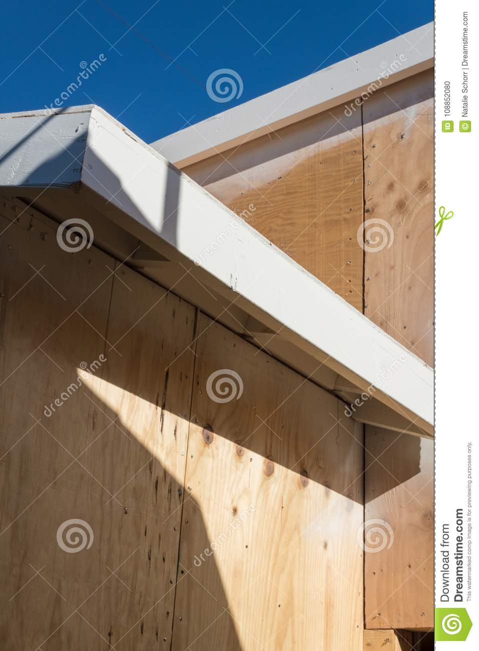Fascia Board Detail Of Renovation Or New Construction Building Exterior With