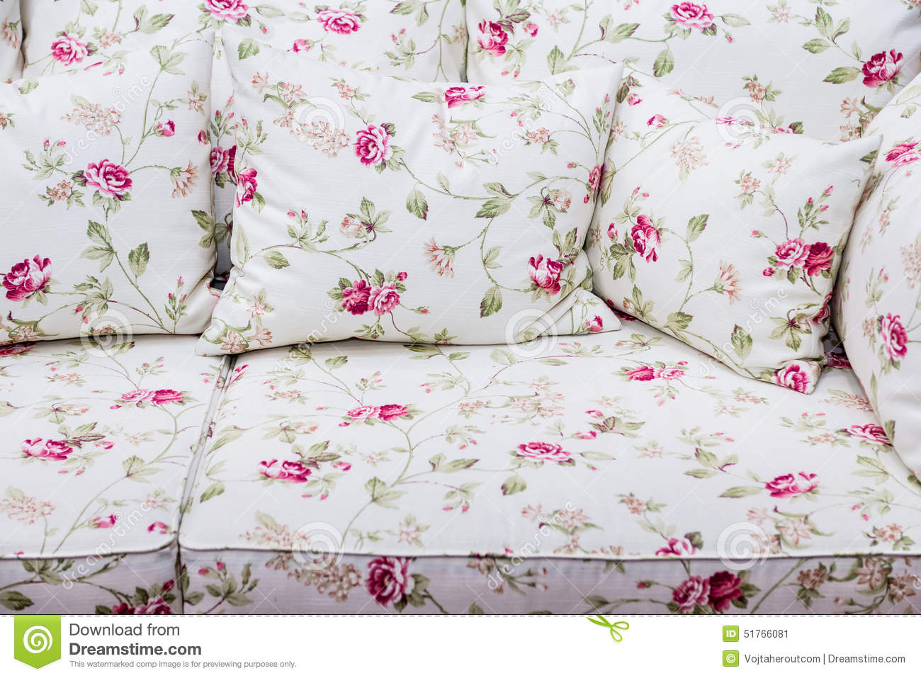 Sofas Xxl Detail Of Sofa With Rose Floral Vintage Ornament Stock