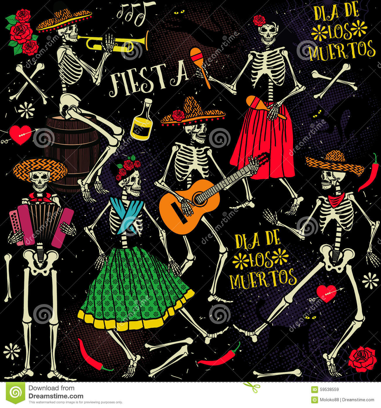 Wallpaper Hd Skeleton Dia De Los Muertos Stock Vector Image 59538559
