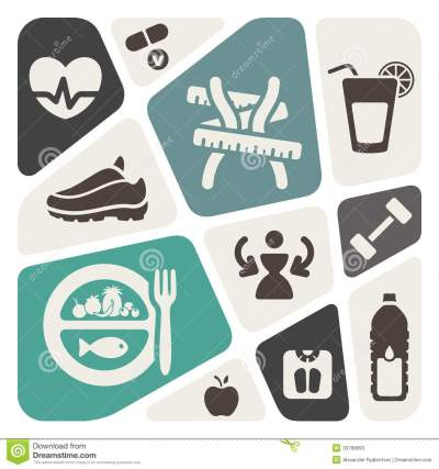 Diet Fitness Background With Icons Stock S Image