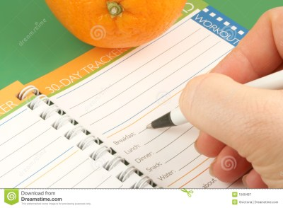 Writing In A T And Nutrition Journal With Orange To The Side