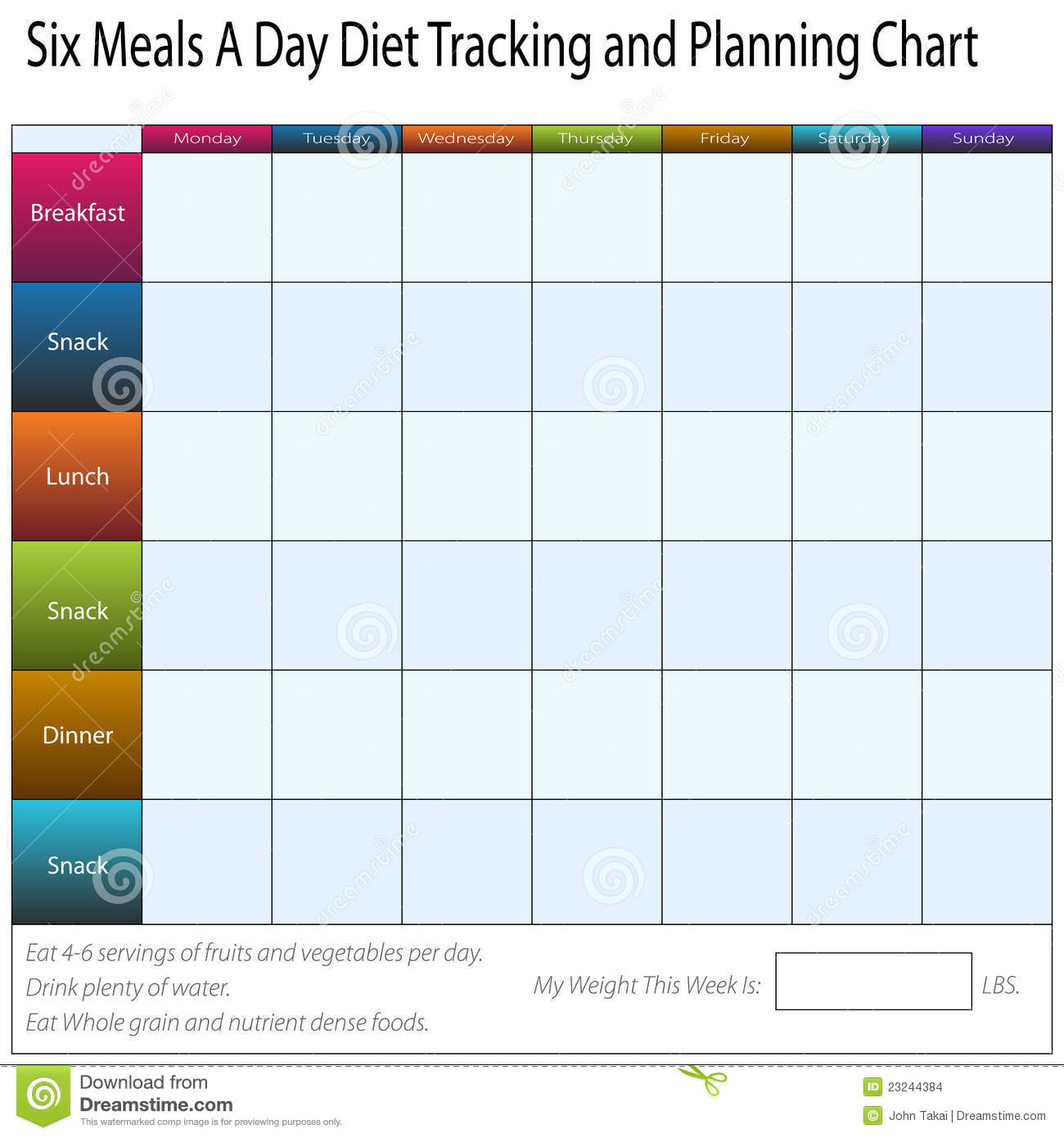 Weekly Calendar For Toddlers Calendar Eugeneweekly Diet Tracking Chart Stock Images Image 23244384