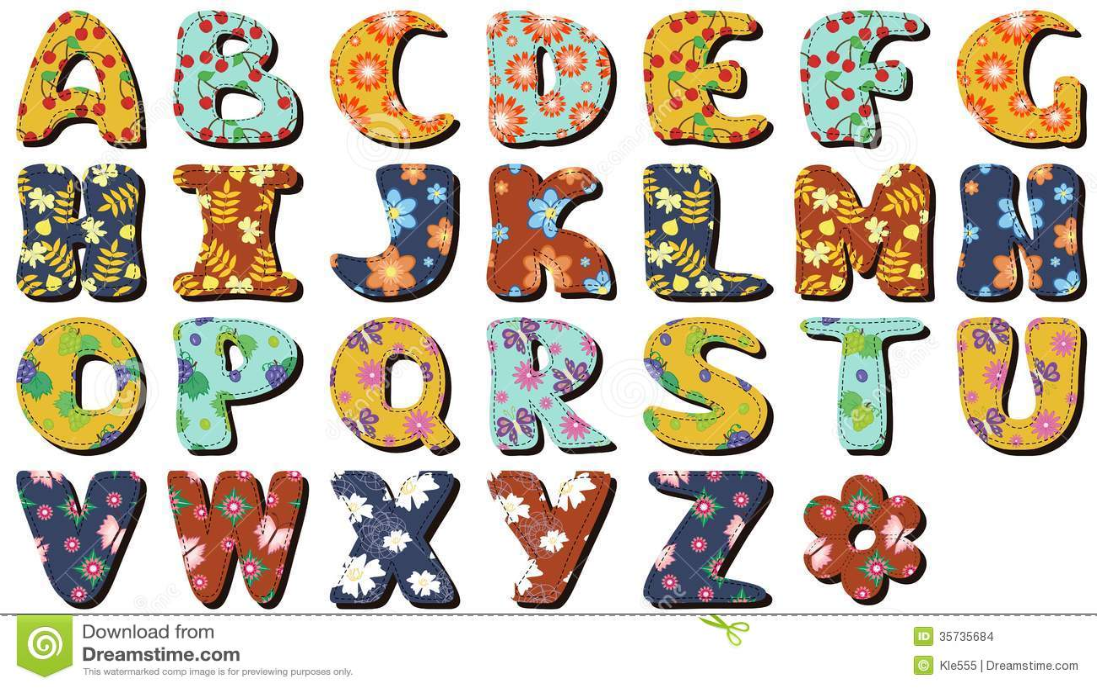 Different colors letters scrapbook