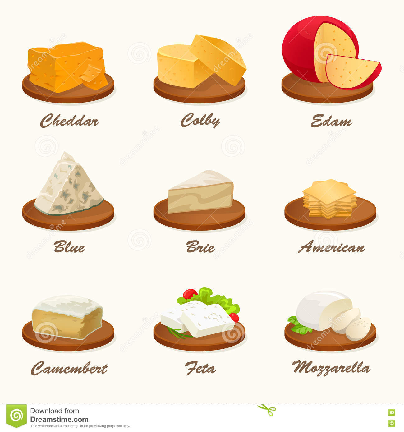 Different Types Of Cutting Boards Different Kinds Of Cheese On Cutting Board Vector