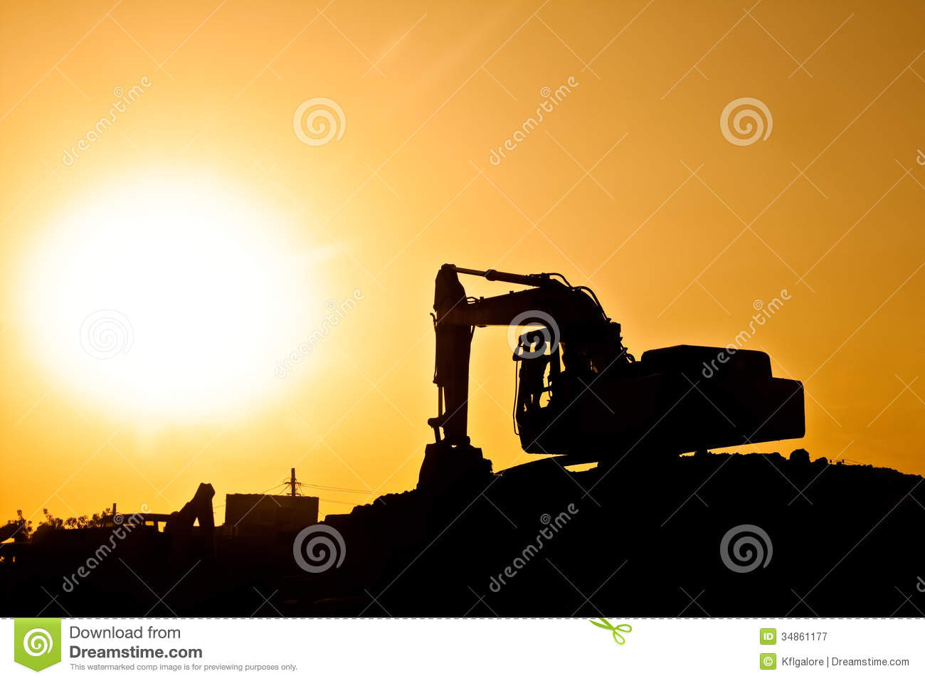 3d Animation Wallpaper Download Digger On Construction Site With Giant Sun Royalty Free
