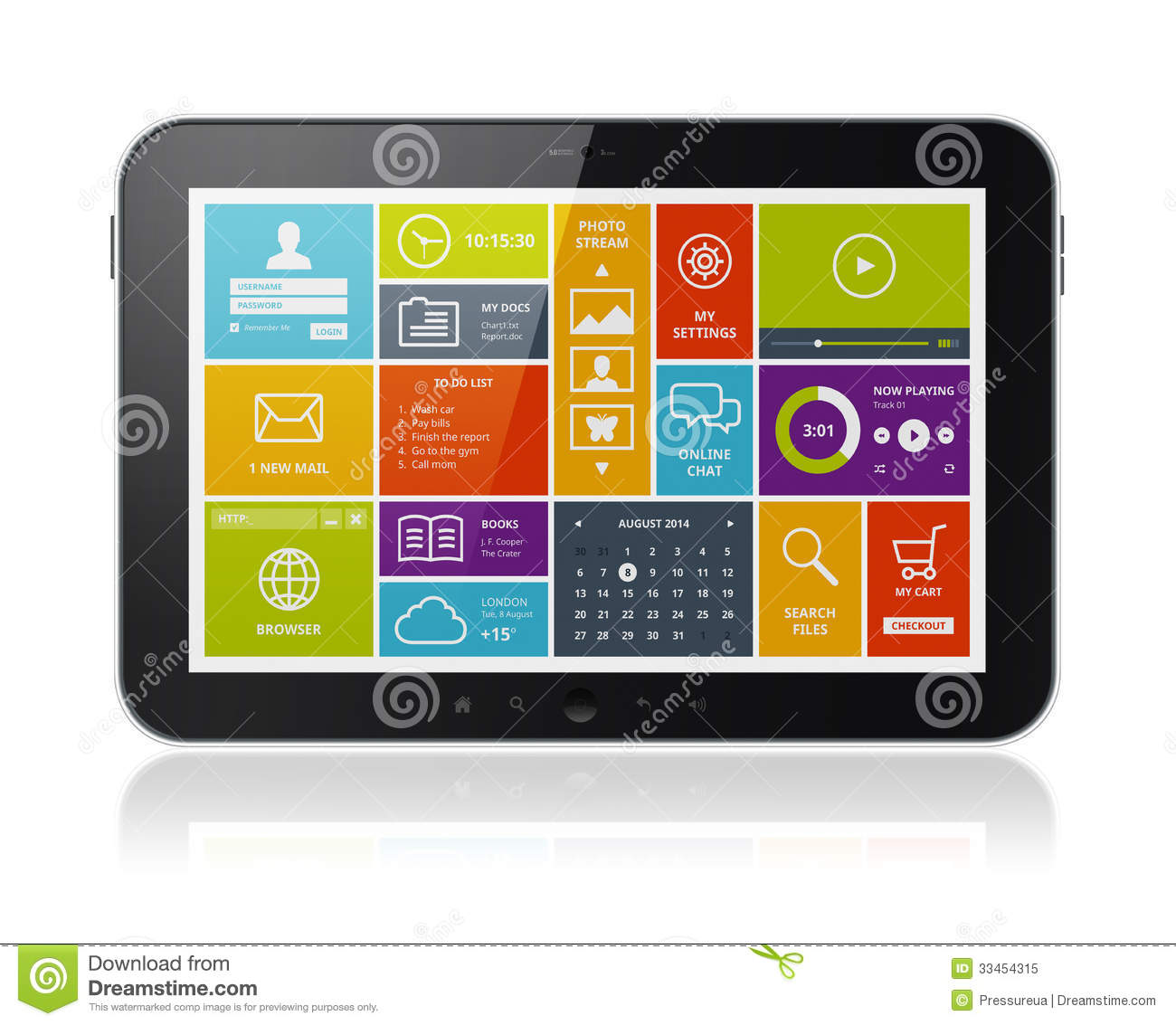 Tablett Modern Digital Tablet With Modern Ui Stock Illustration