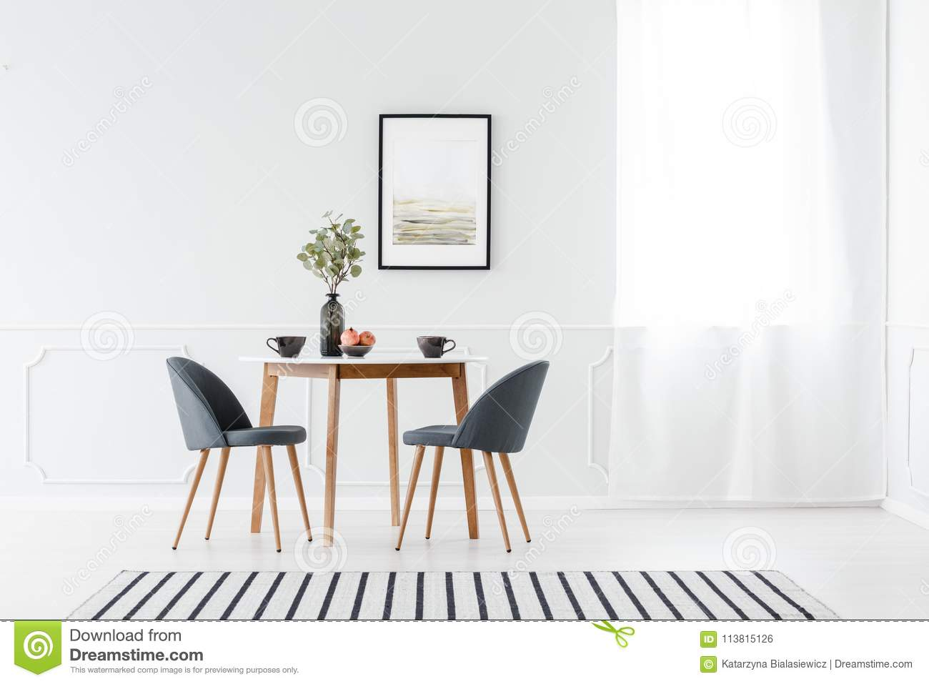 Minimalist Furniture Dining Furniture In Minimalist Interior Stock Photo Image Of