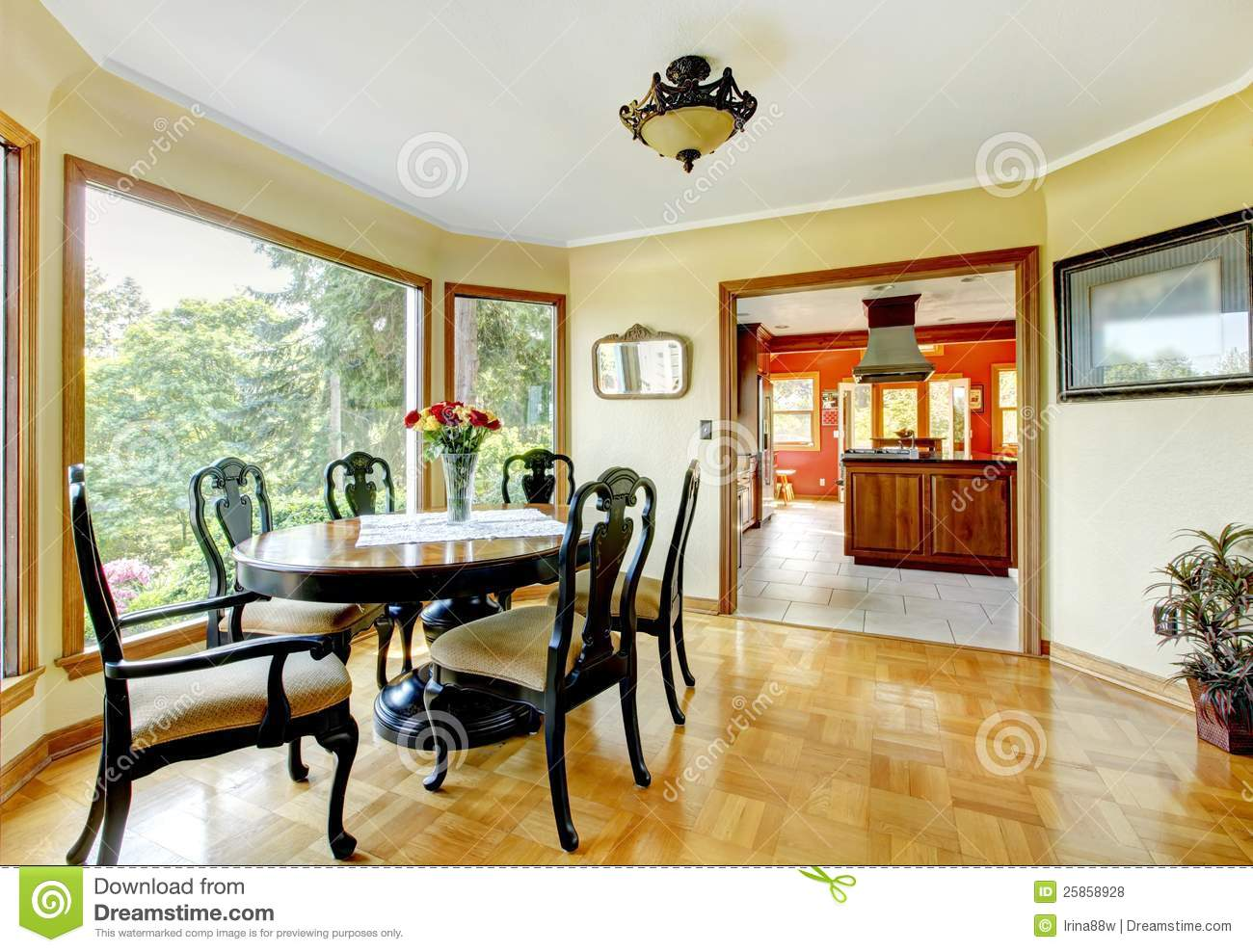 Yellow Dining Room Walls Dining Room With Yellow Walls Royalty Free Stock Photos