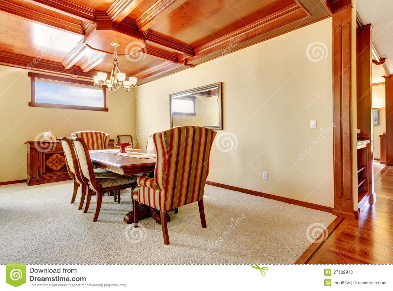 Yellow Dining Room Walls Dining Room With Yellow Walls And Wood Ceiling Stock