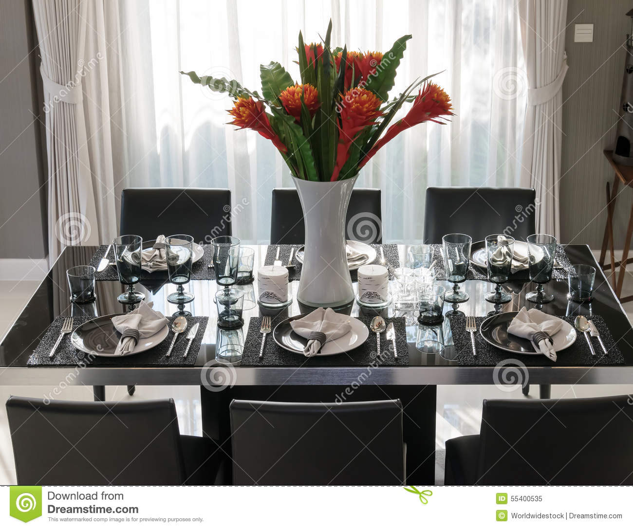 Modern Table Setting Dining Table With Elegant Table Setting Stock Image