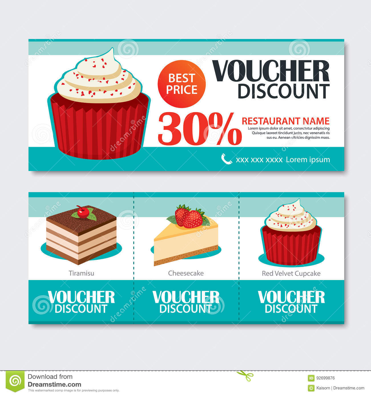 Discount Küchen Discount Voucher Set Of Dessert Template Design Set Of Cupcake