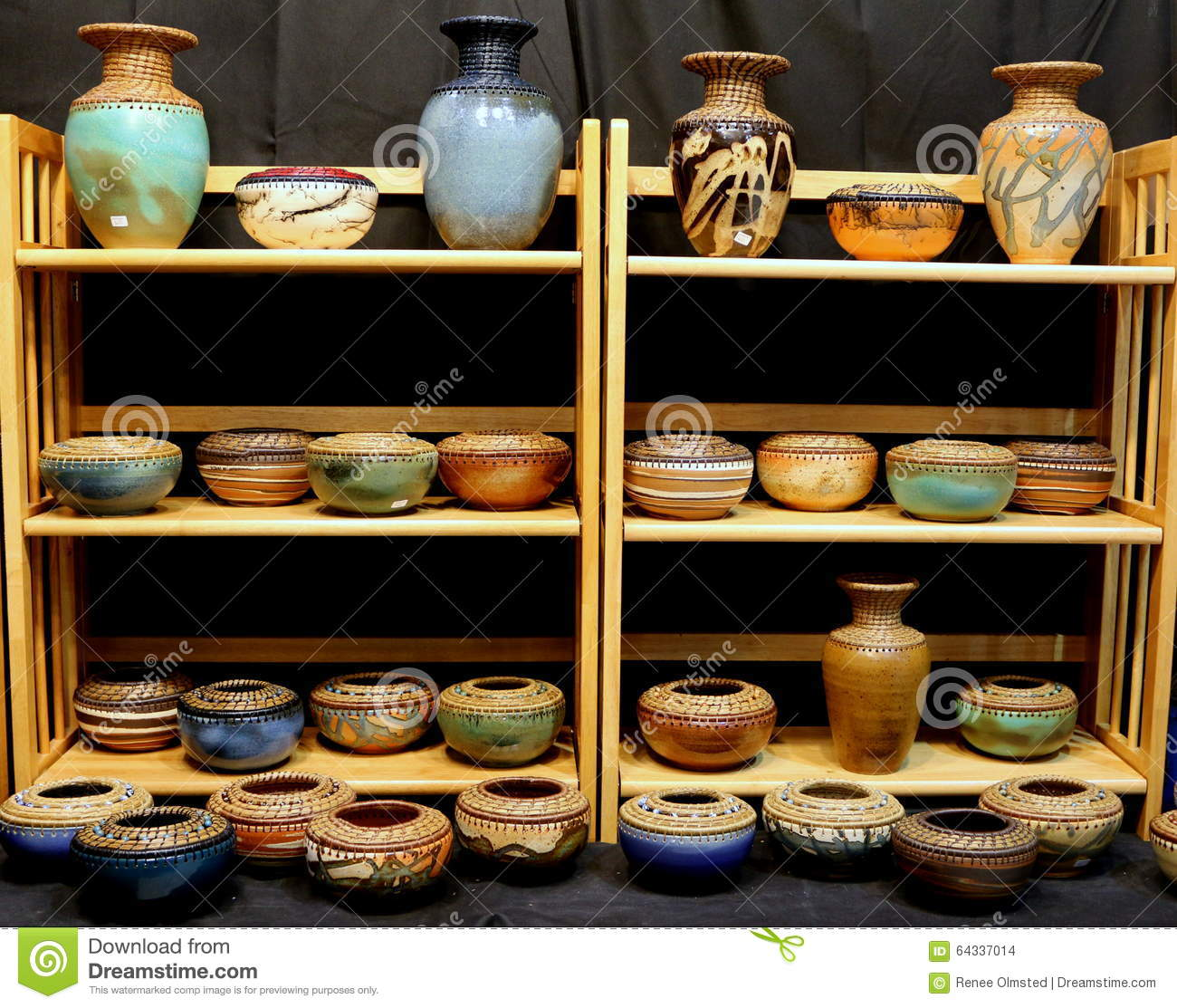 How To Display Bowls Display Of Earthenware Bowls And Vases Stock Photo Image