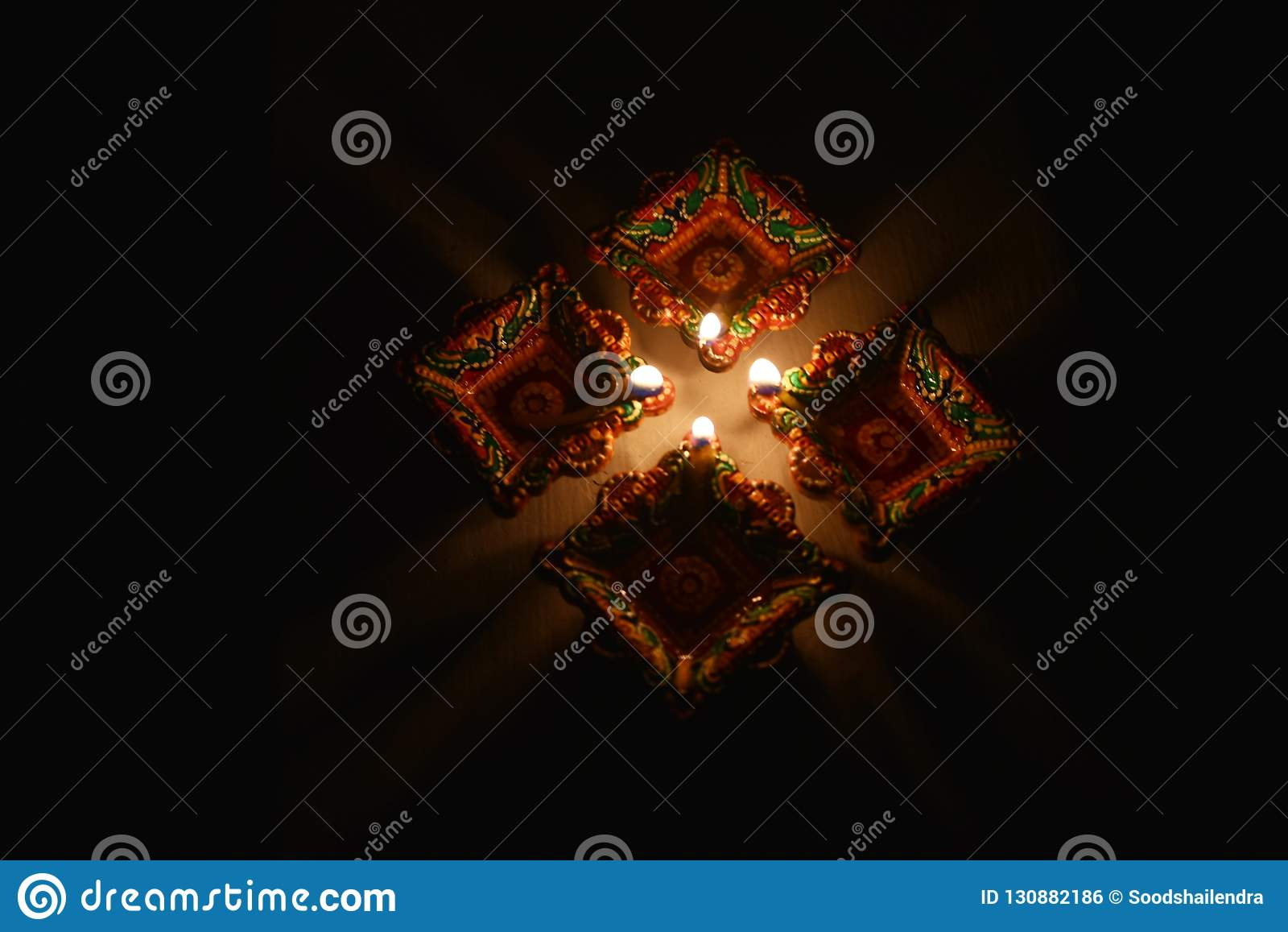 Light Decoration Diwali Diwali Festival Diya Light Decoration India Stock Photo