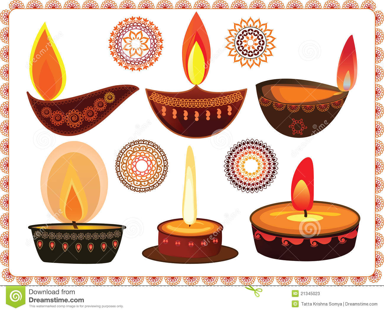 Diwali Lamp Designs Diwali Oil Lamps With Mandala Design Stock Photos Image