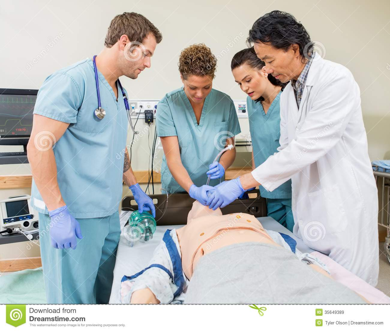 Stock Simulation Algorithm Doctor Instructing Nurses In Hospital Room Stock Image