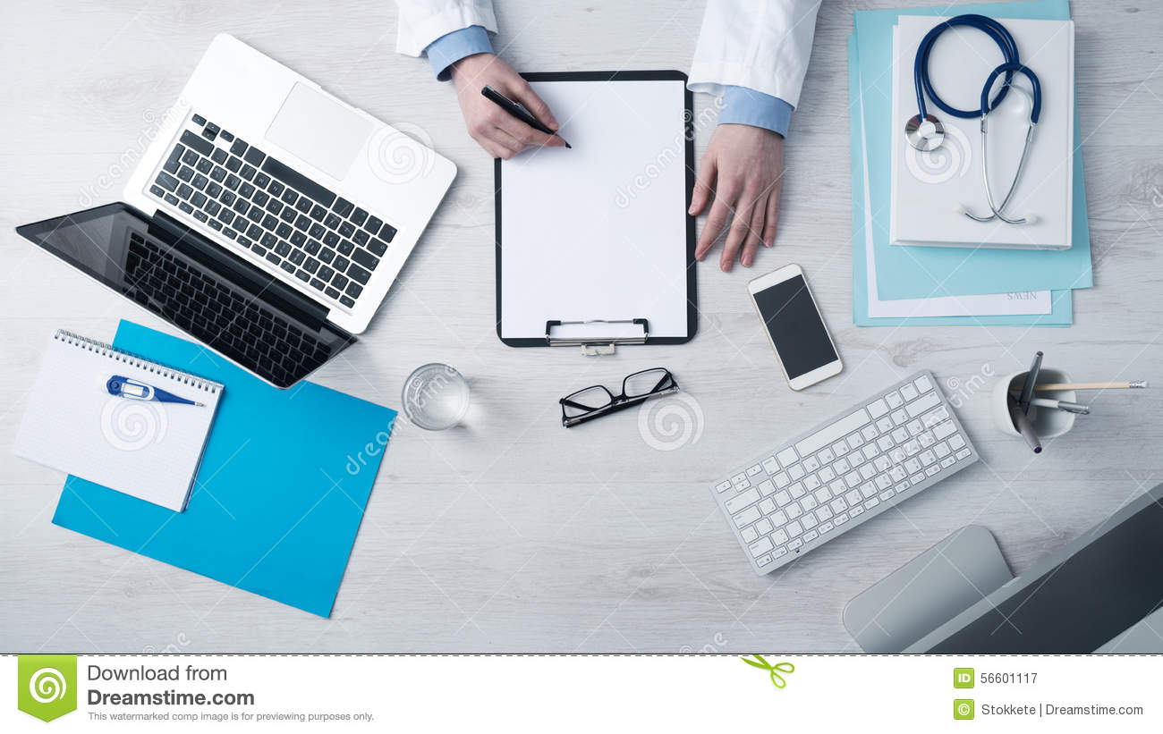 Bureau Professionnel Medecin Doctor Writing Medical Records Stock Image Image Of