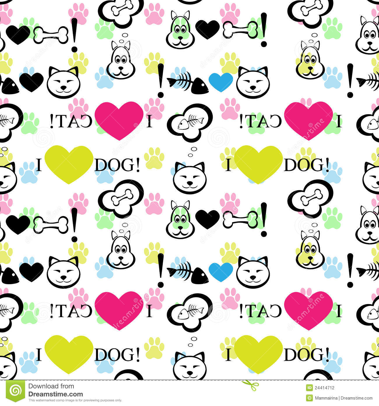 Cute Paw Print Wallpaper Dog And Cat Background Stock Vector Image Of Green