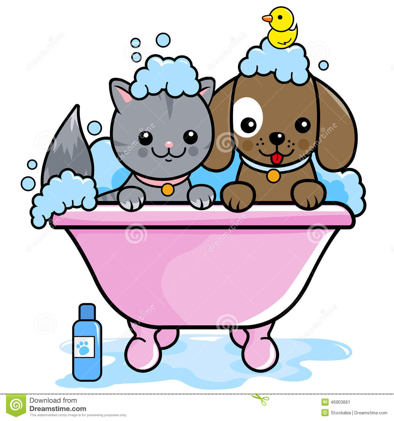 Badezimmer Comic Dog And Cat Taking A Bath Stock Vector Illustration Of