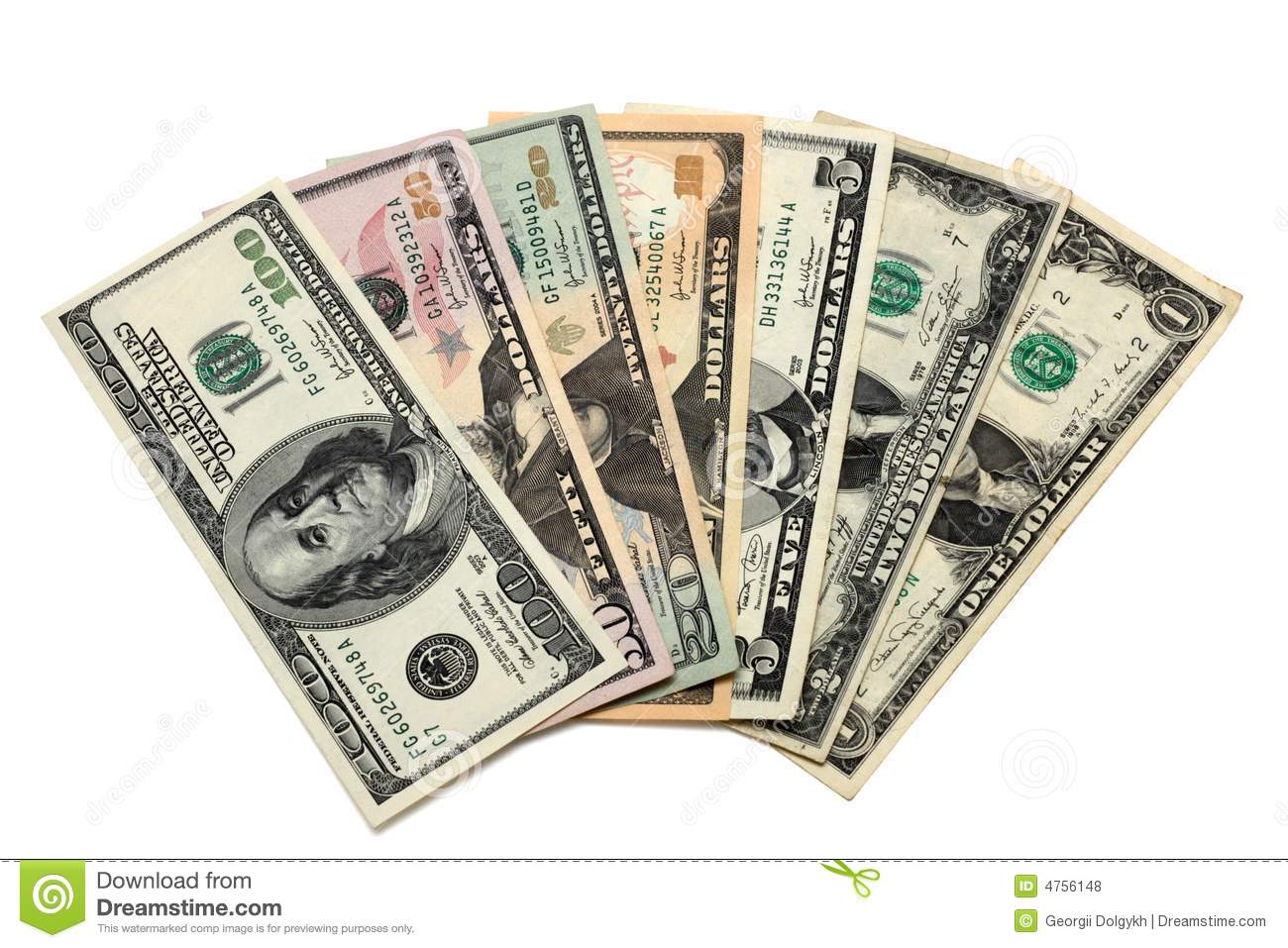 50 100 Dollar Bills Of 1 2 5 10 20 50 And 100 Worth Stock Photo