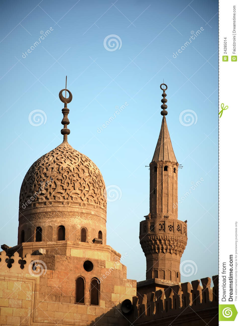 Spiral Wallpaper 3d The Dome And Minaret Of Al Azhar Mosque In Cairo Stock