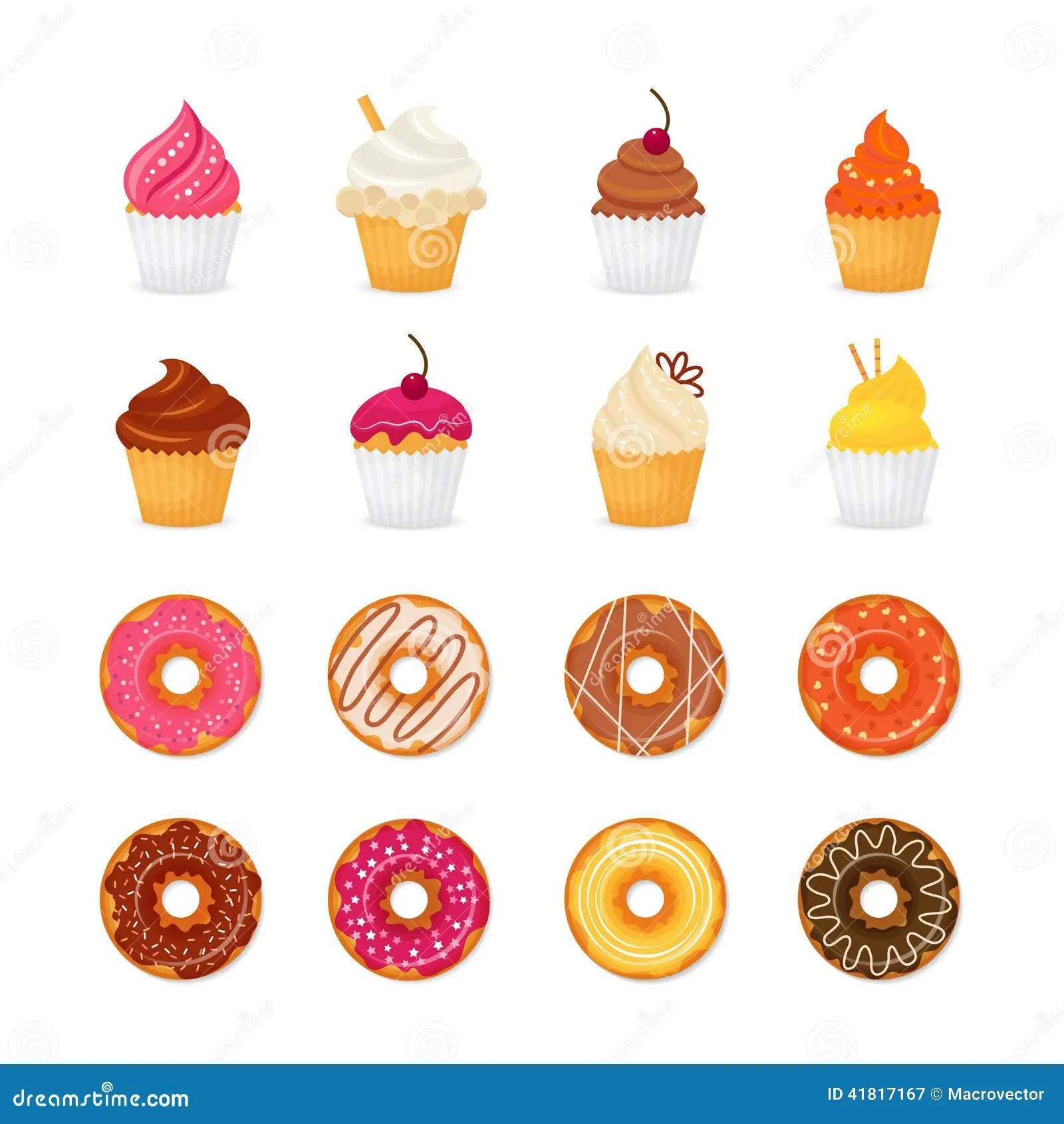 Cute Bakery Wallpaper Donut Cupcake Icon Stock Vector Illustration Of Doughnut