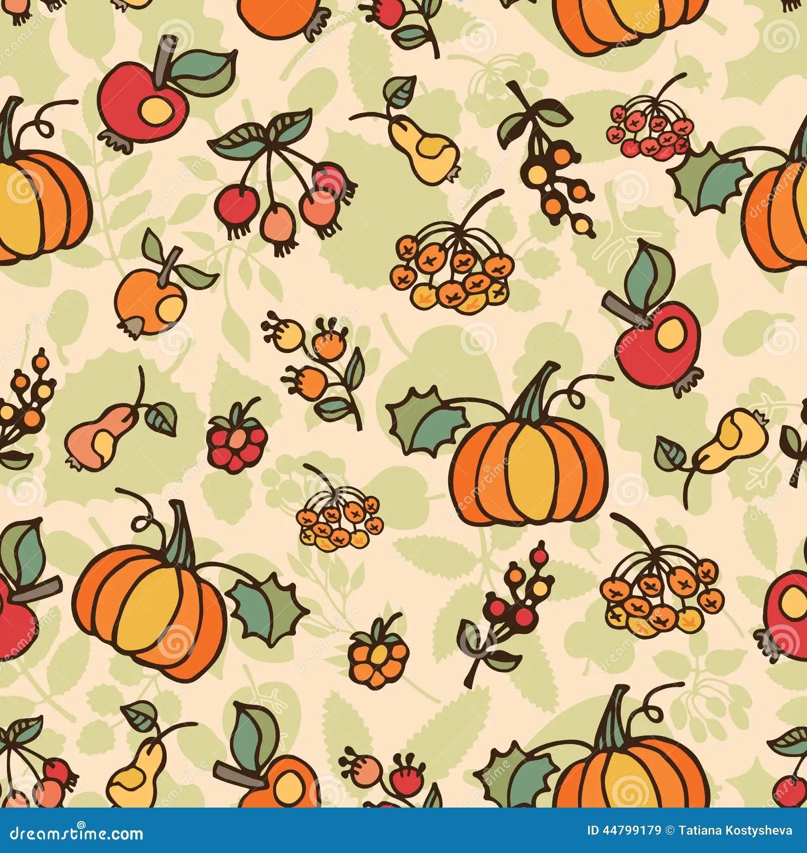 Fall Wallpaper With Pumpkins Doodle Seamless Pattern Autumn Harvest Fruit Stock
