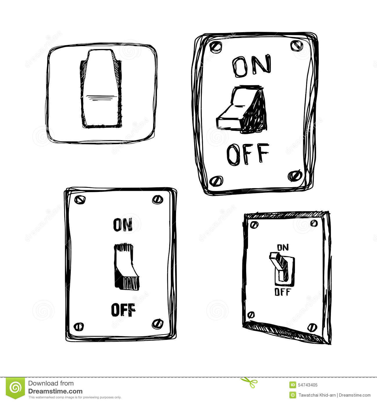 Electrical And Electronic Drawing Auto Wiring Diagram Vector Circuit Tree Stock Photo Image 34279490 Doodles Single Wall Light Switch